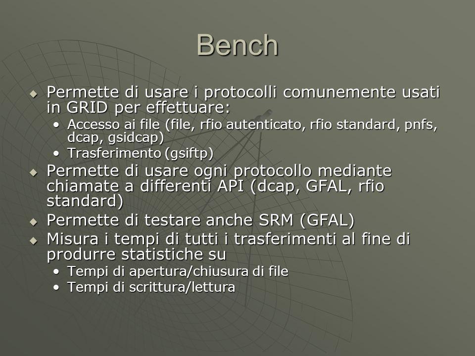 Bench  Permette di usare i protocolli comunemente usati in GRID per effettuare: Accesso ai file (file, rfio autenticato, rfio standard, pnfs, dcap, gsidcap)Accesso ai file (file, rfio autenticato, rfio standard, pnfs, dcap, gsidcap) Trasferimento (gsiftp)Trasferimento (gsiftp)  Permette di usare ogni protocollo mediante chiamate a differenti API (dcap, GFAL, rfio standard)  Permette di testare anche SRM (GFAL)  Misura i tempi di tutti i trasferimenti al fine di produrre statistiche su Tempi di apertura/chiusura di fileTempi di apertura/chiusura di file Tempi di scrittura/letturaTempi di scrittura/lettura