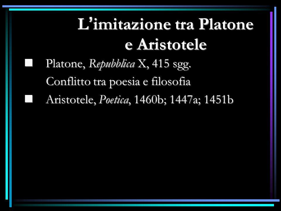Platone, Repubblica X, 415 sgg. Platone, Repubblica X, 415 sgg. Conflitto tra poesia e filosofia Conflitto tra poesia e filosofia Aristotele, Poetica,