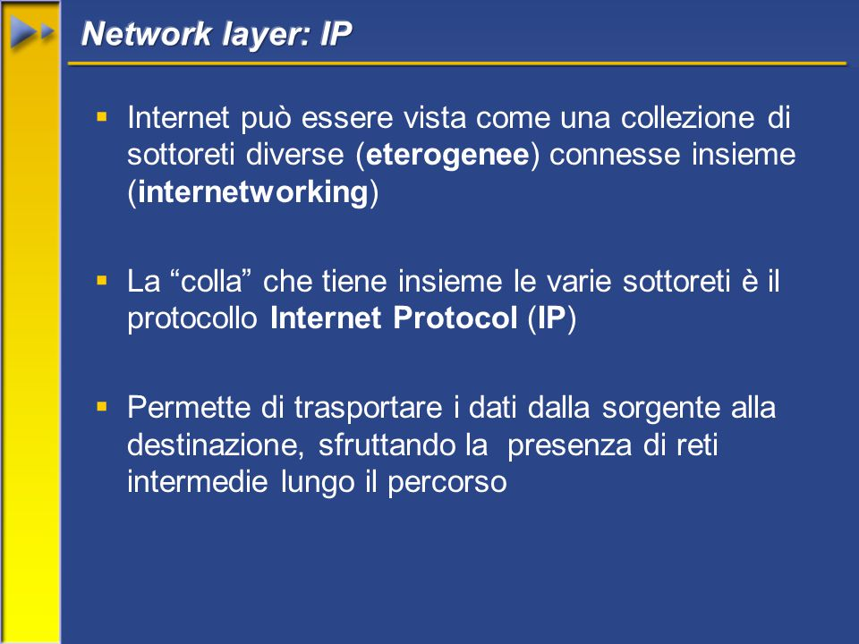  Internet può essere vista come una collezione di sottoreti diverse (eterogenee) connesse insieme (internetworking)  La colla che tiene insieme le varie sottoreti è il protocollo Internet Protocol (IP)  Permette di trasportare i dati dalla sorgente alla destinazione, sfruttando la presenza di reti intermedie lungo il percorso