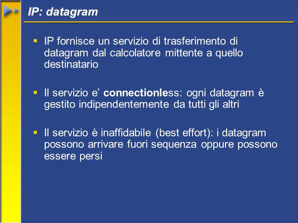  IP fornisce un servizio di trasferimento di datagram dal calcolatore mittente a quello destinatario  Il servizio e' connectionless: ogni datagram è gestito indipendentemente da tutti gli altri  Il servizio è inaffidabile (best effort): i datagram possono arrivare fuori sequenza oppure possono essere persi