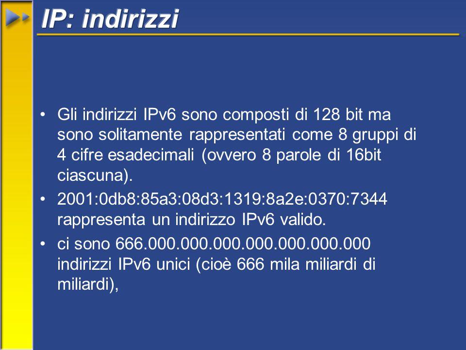 Gli indirizzi IPv6 sono composti di 128 bit ma sono solitamente rappresentati come 8 gruppi di 4 cifre esadecimali (ovvero 8 parole di 16bit ciascuna).