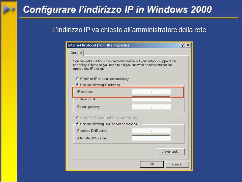 L'indirizzo IP va chiesto all'amministratore della rete