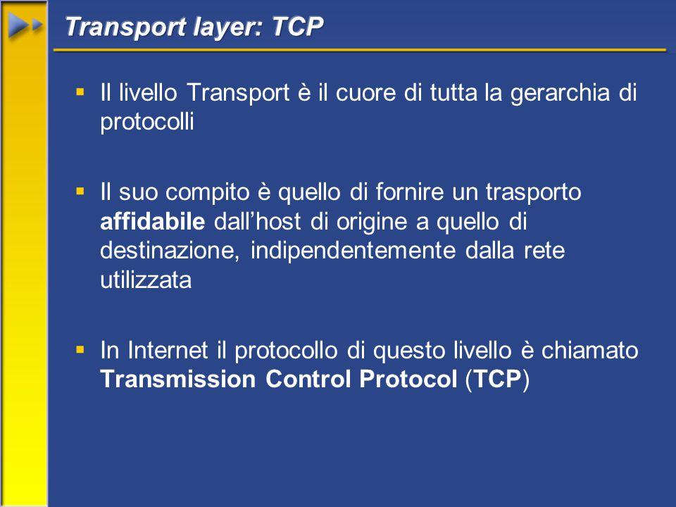  Il livello Transport è il cuore di tutta la gerarchia di protocolli  Il suo compito è quello di fornire un trasporto affidabile dall'host di origine a quello di destinazione, indipendentemente dalla rete utilizzata  In Internet il protocollo di questo livello è chiamato Transmission Control Protocol (TCP)