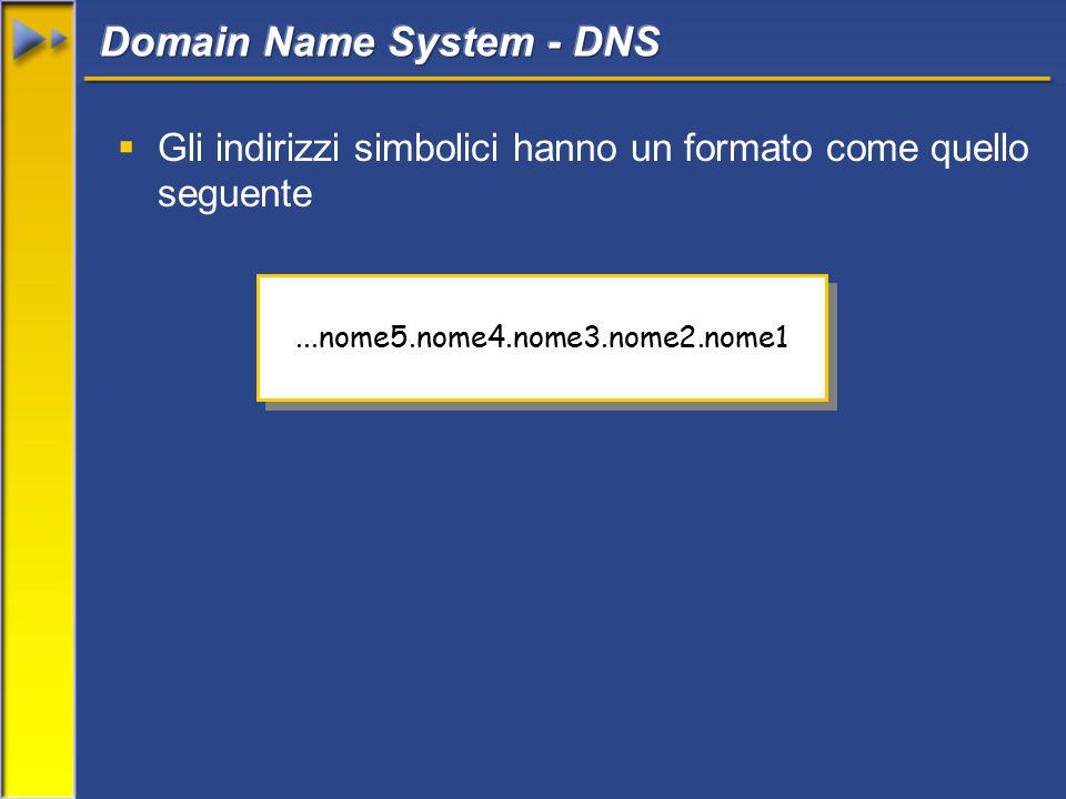  Gli indirizzi simbolici hanno un formato come quello seguente...nome5.nome4.nome3.nome2.nome1