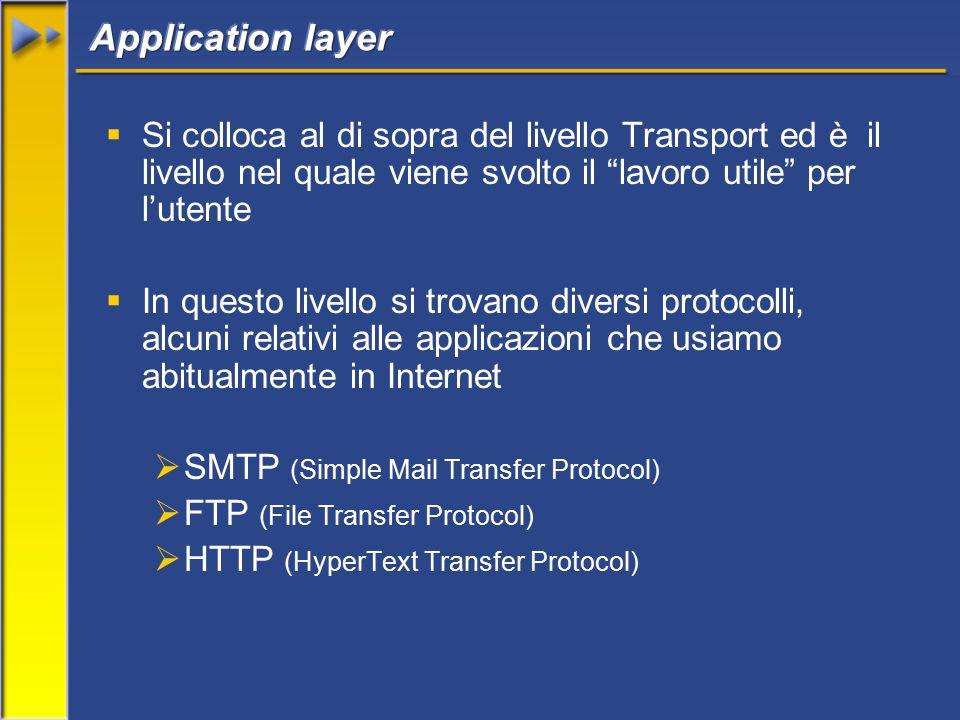 Si colloca al di sopra del livello Transport ed è il livello nel quale viene svolto il lavoro utile per l'utente  In questo livello si trovano diversi protocolli, alcuni relativi alle applicazioni che usiamo abitualmente in Internet  SMTP (Simple Mail Transfer Protocol)  FTP (File Transfer Protocol)  HTTP (HyperText Transfer Protocol)