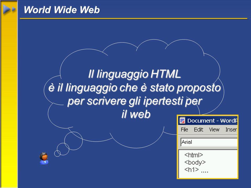 Il linguaggio HTML è il linguaggio che è stato proposto per scrivere gli ipertesti per il web