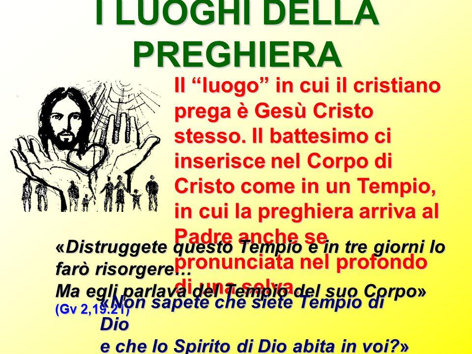 """I LUOGHI DELLA PREGHIERA Il """"luogo"""" in cui il cristiano prega è Gesù Cristo stesso. Il battesimo ci inserisce nel Corpo di Cristo come in un Tempio, i"""
