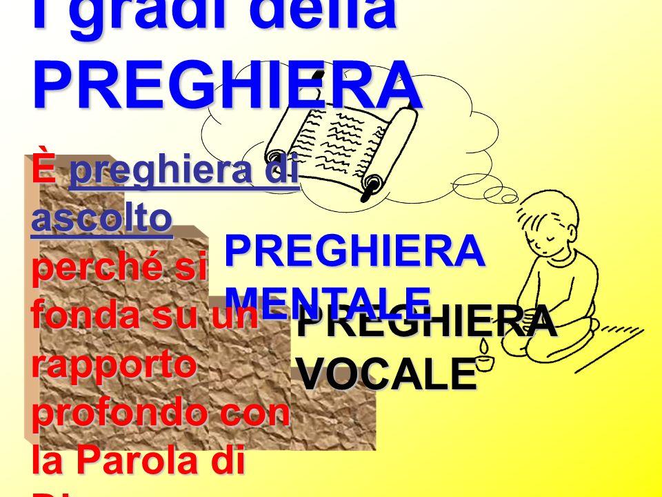 I gradi della PREGHIERA PREGHIERA VOCALE PREGHIERA MENTALE È preghiera di ascolto perché si fonda su un rapporto profondo con la Parola di Dio