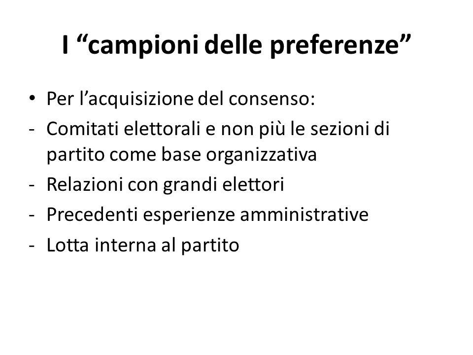 """I """"campioni delle preferenze"""" Per l'acquisizione del consenso: -Comitati elettorali e non più le sezioni di partito come base organizzativa -Relazioni"""