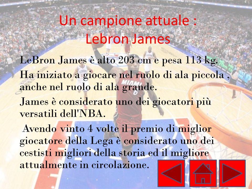 Un campione attuale : Lebron James LeBron James è alto 203 cm e pesa 113 kg. Ha iniziato a giocare nel ruolo di ala piccola, anche nel ruolo di ala gr