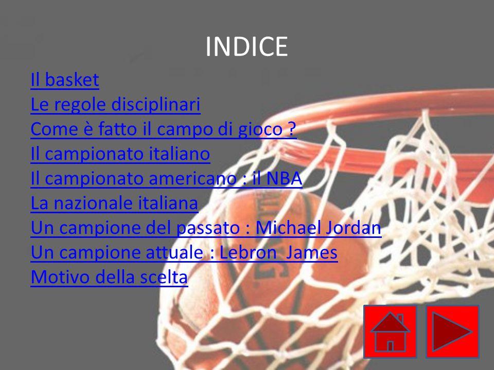 INDICE Il basket Le regole disciplinari Come è fatto il campo di gioco ? Il campionato italiano Il campionato americano : il NBA La nazionale italiana