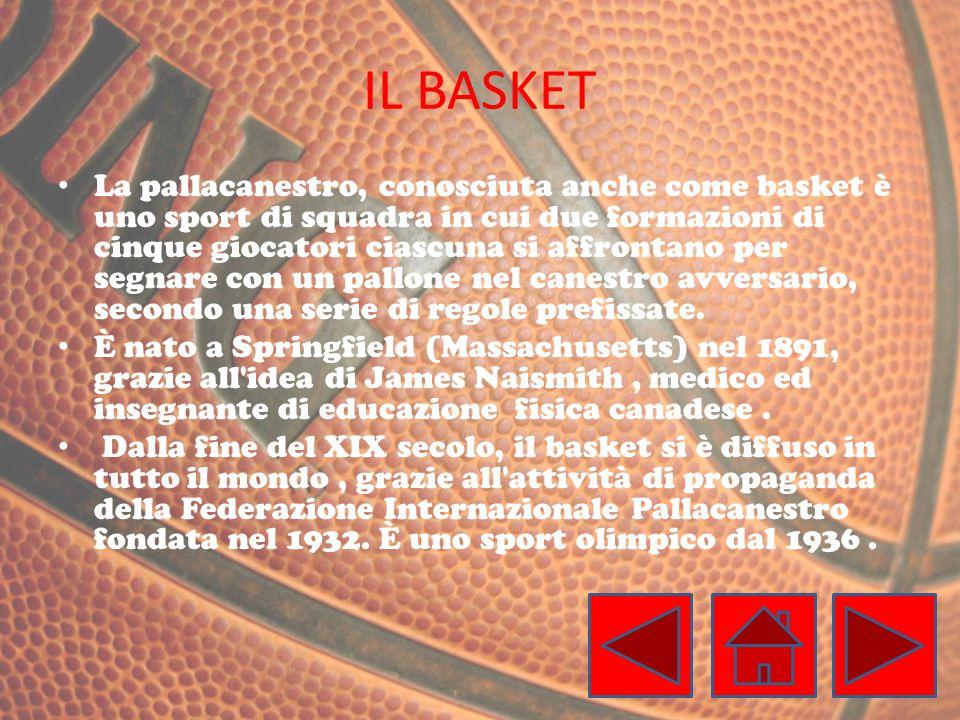IL BASKET La pallacanestro, conosciuta anche come basket è uno sport di squadra in cui due formazioni di cinque giocatori ciascuna si affrontano per segnare con un pallone nel canestro avversario, secondo una serie di regole prefissate.
