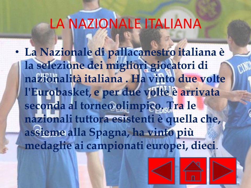 LA NAZIONALE ITALIANA La Nazionale di pallacanestro italiana è la selezione dei migliori giocatori di nazionalità italiana. Ha vinto due volte l'Eurob