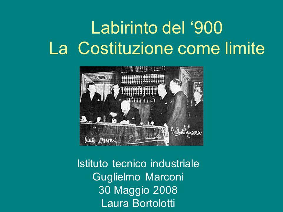 Labirinto del '900 La Costituzione come limite Istituto tecnico industriale Guglielmo Marconi 30 Maggio 2008 Laura Bortolotti
