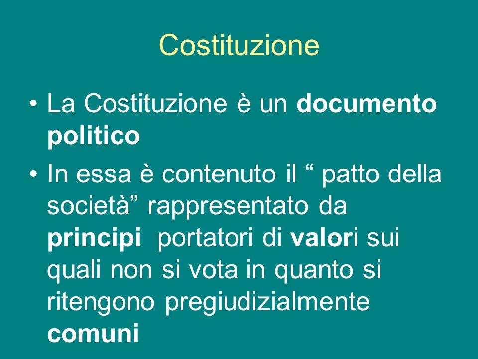 Costituzione La Costituzione è un documento politico In essa è contenuto il patto della società rappresentato da principi portatori di valori sui quali non si vota in quanto si ritengono pregiudizialmente comuni