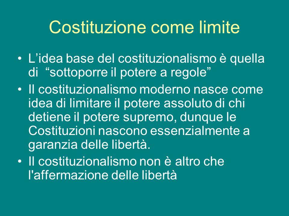 """Costituzione come limite L'idea base del costituzionalismo è quella di """"sottoporre il potere a regole"""" Il costituzionalismo moderno nasce come idea di"""