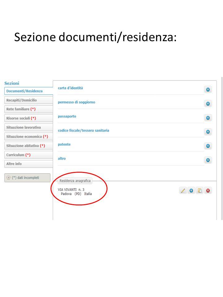 Sezione documenti/residenza: