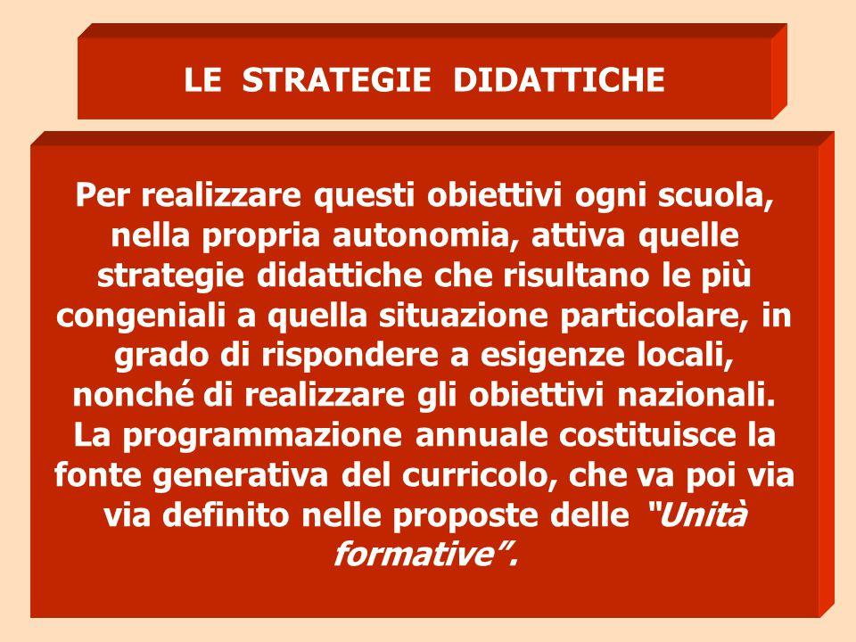 LE STRATEGIE DIDATTICHE Per realizzare questi obiettivi ogni scuola, nella propria autonomia, attiva quelle strategie didattiche che risultano le più