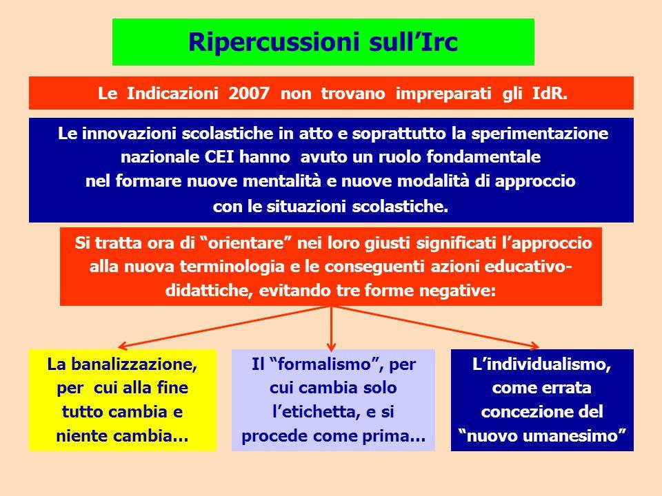 Ripercussioni sull'Irc Le Indicazioni 2007 non trovano impreparati gli IdR. Le innovazioni scolastiche in atto e soprattutto la sperimentazione nazion