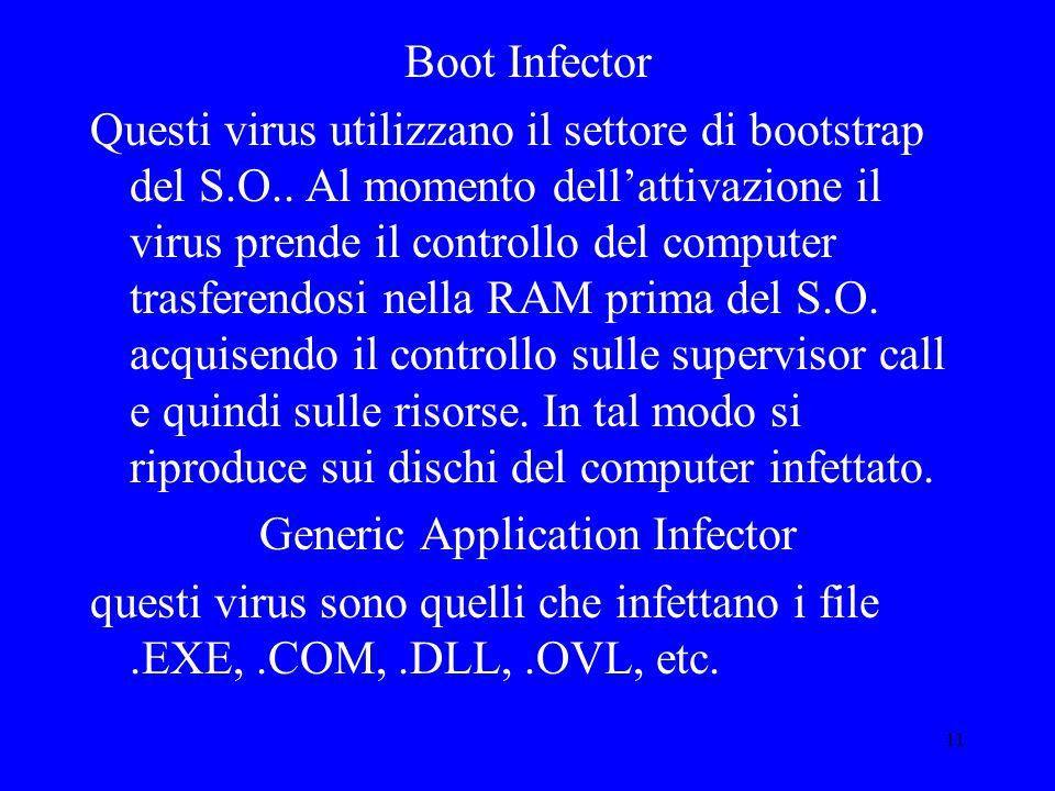 11 Boot Infector Questi virus utilizzano il settore di bootstrap del S.O..