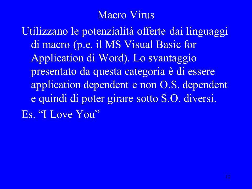 12 Macro Virus Utilizzano le potenzialità offerte dai linguaggi di macro (p.e.