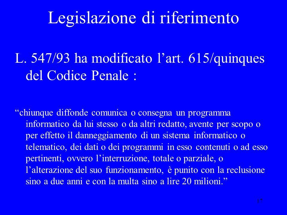 17 Legislazione di riferimento L. 547/93 ha modificato l'art.