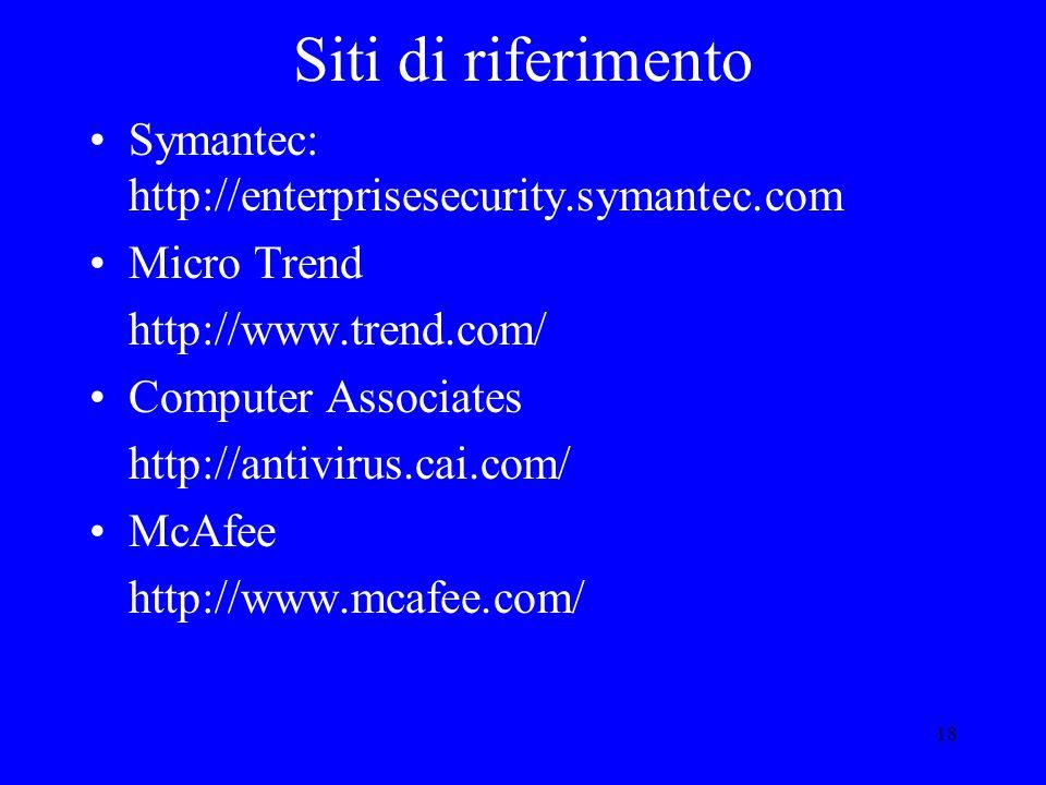 18 Siti di riferimento Symantec: http://enterprisesecurity.symantec.com Micro Trend http://www.trend.com/ Computer Associates http://antivirus.cai.com/ McAfee http://www.mcafee.com/