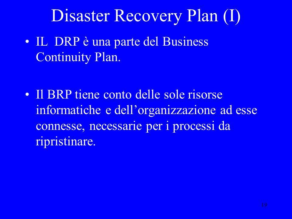 19 Disaster Recovery Plan (I) IL DRP è una parte del Business Continuity Plan.