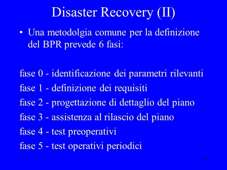 20 Disaster Recovery (II) Una metodolgia comune per la definizione del BPR prevede 6 fasi: fase 0 - identificazione dei parametri rilevanti fase 1 - definizione dei requisiti fase 2 - progettazione di dettaglio del piano fase 3 - assistenza al rilascio del piano fase 4 - test preoperativi fase 5 - test operativi periodici
