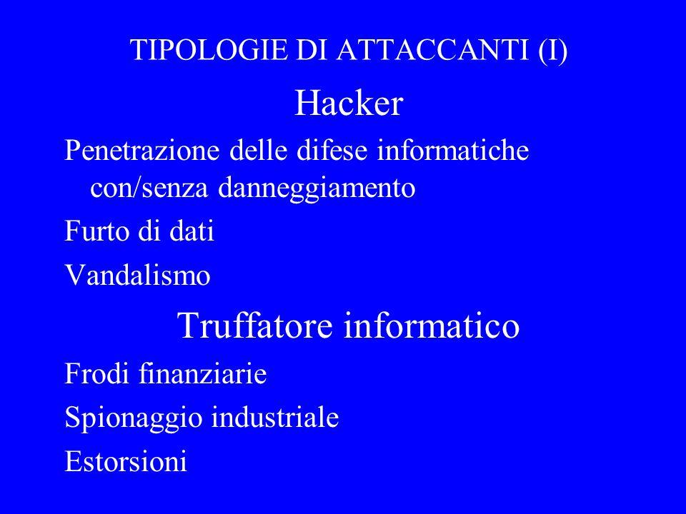 4 TIPOLOGIE DI ATTACCANTI (I) Hacker Penetrazione delle difese informatiche con/senza danneggiamento Furto di dati Vandalismo Truffatore informatico Frodi finanziarie Spionaggio industriale Estorsioni