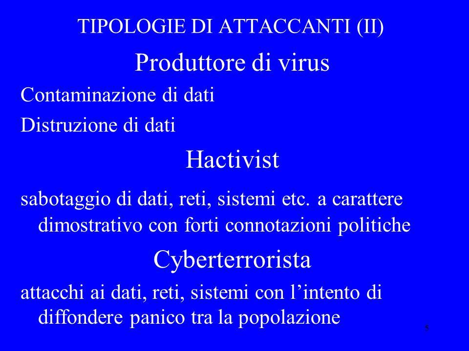 5 TIPOLOGIE DI ATTACCANTI (II) Produttore di virus Contaminazione di dati Distruzione di dati Hactivist sabotaggio di dati, reti, sistemi etc.
