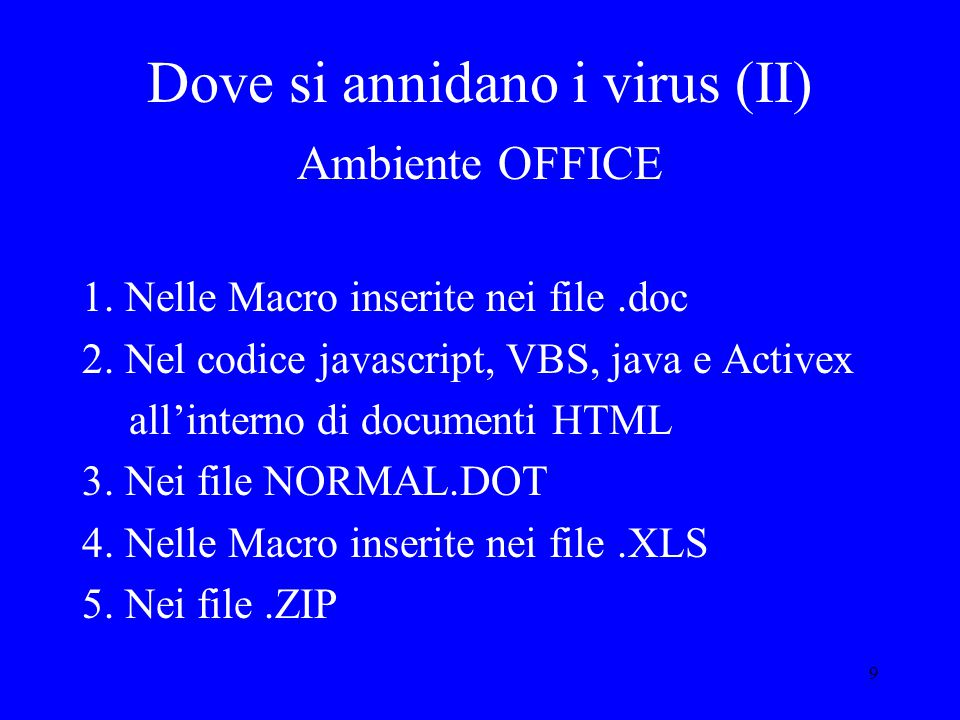9 Dove si annidano i virus (II) Ambiente OFFICE 1.