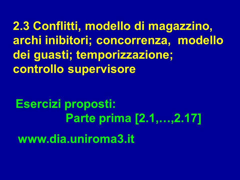 2.3 Conflitti, modello di magazzino, archi inibitori; concorrenza, modello dei guasti; temporizzazione; controllo supervisore Esercizi proposti: Parte
