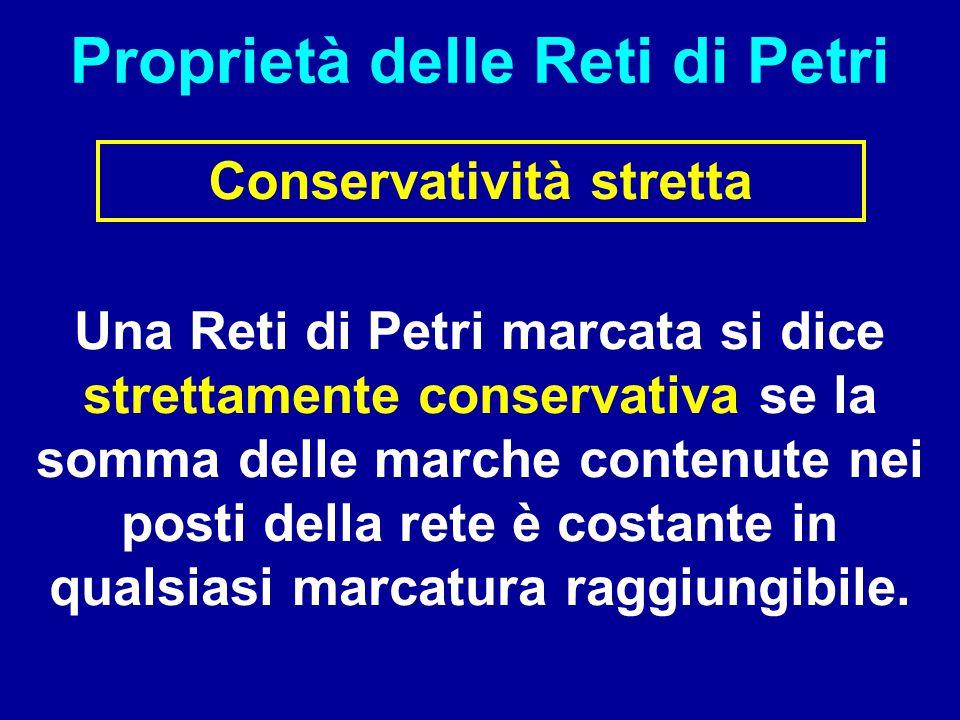 Proprietà delle Reti di Petri Conservatività stretta Una Reti di Petri marcata si dice strettamente conservativa se la somma delle marche contenute ne