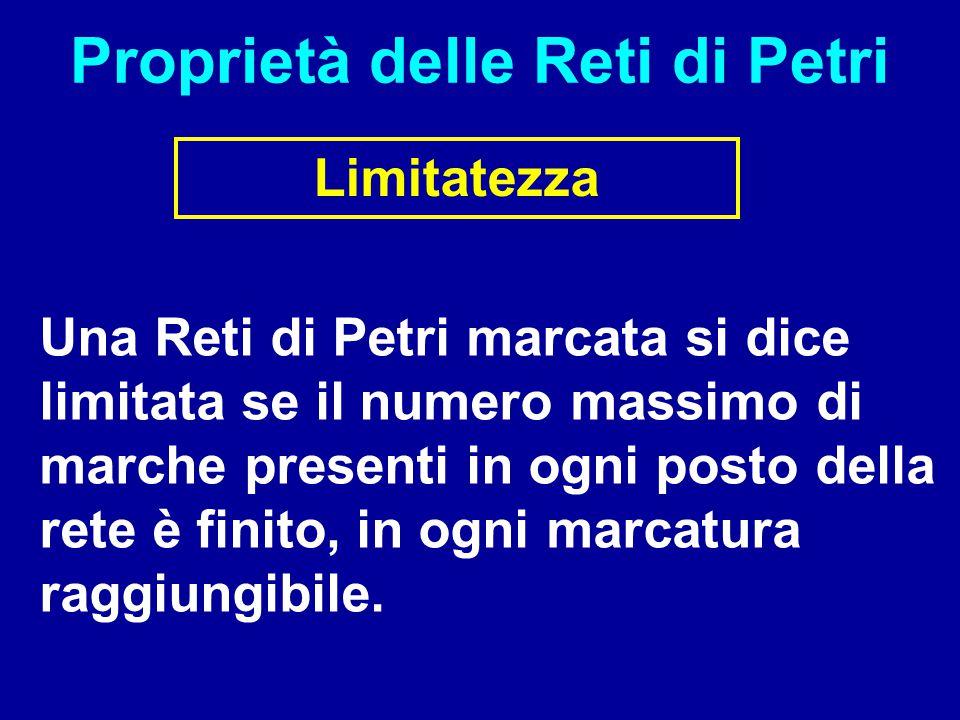Proprietà delle Reti di Petri Limitatezza Una Reti di Petri marcata si dice limitata se il numero massimo di marche presenti in ogni posto della rete