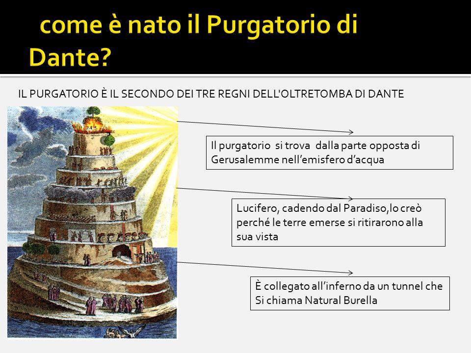 Struttura del purgatorio Il Purgatorio è un vero e proprio monte (o qualsivoglia collina), a forma di tronco di cono,circondato da acqua Sulla sua cima si trova l'Eden, il paradiso terrestre.