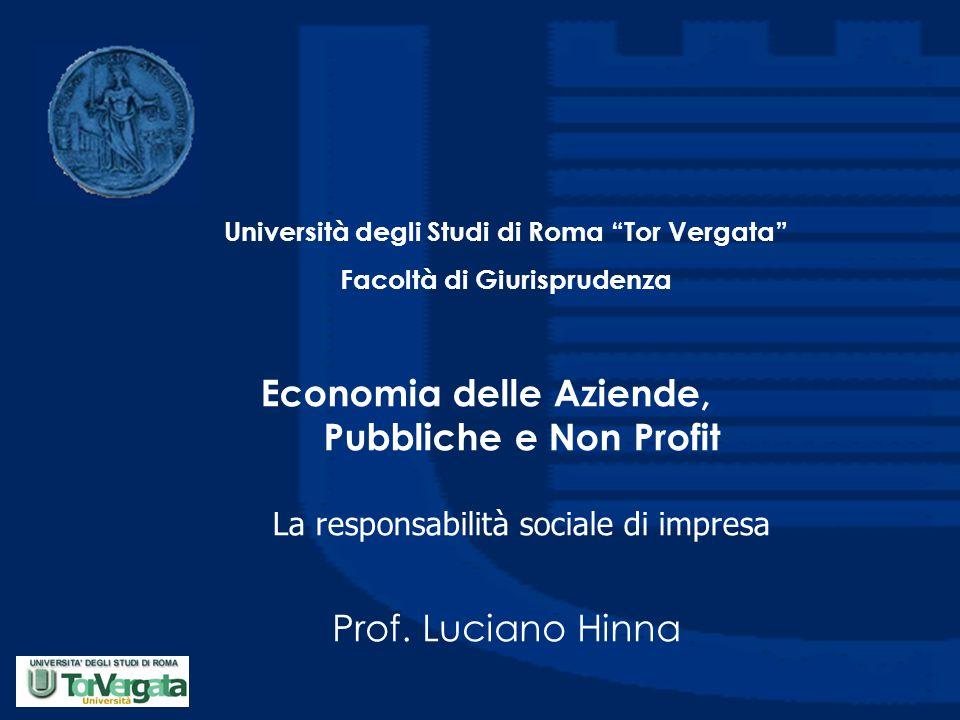 Economia delle Aziende, Pubbliche e Non Profit La responsabilità sociale di impresa Prof.