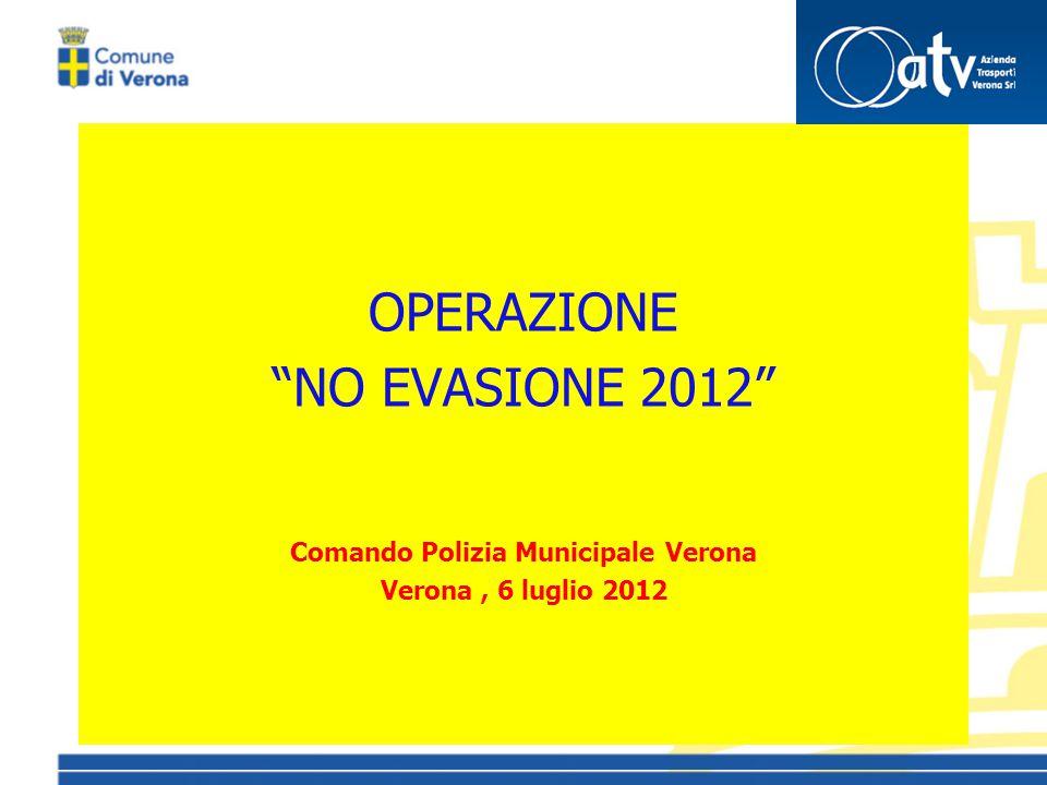 OPERAZIONE NO EVASIONE 2012 Comando Polizia Municipale Verona Verona, 6 luglio 2012