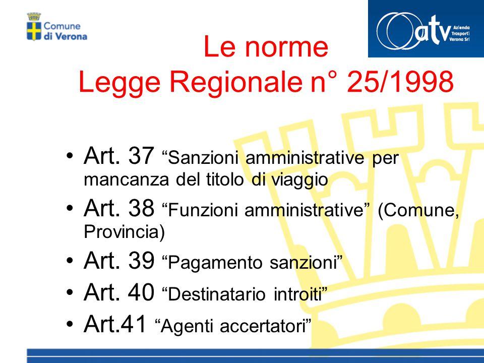 Le norme Legge Regionale n° 25/1998 Art.