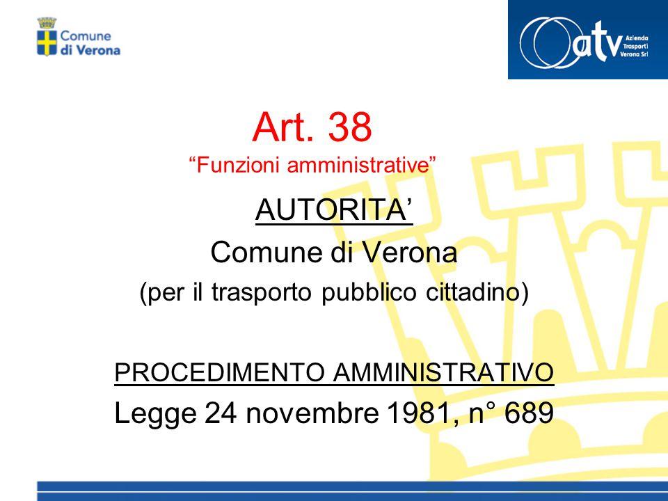 """Art. 38 """"Funzioni amministrative"""" AUTORITA' Comune di Verona (per il trasporto pubblico cittadino) PROCEDIMENTO AMMINISTRATIVO Legge 24 novembre 1981,"""