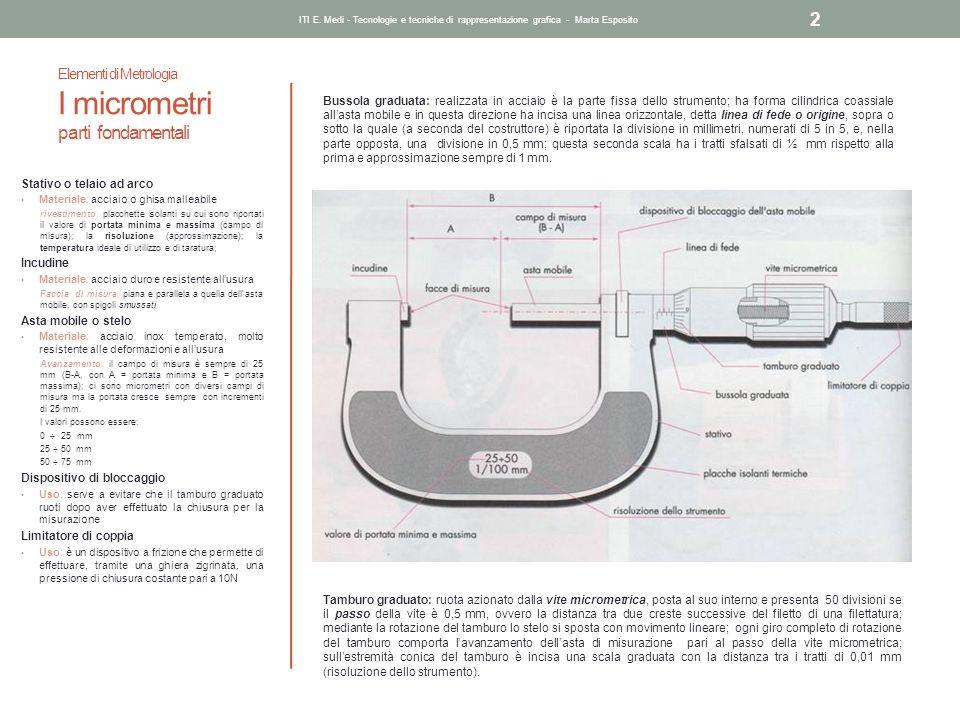 Elementi di Metrologia I micrometri parti fondamentali Stativo o telaio ad arco Materiale: acciaio o ghisa malleabile rivestimento: placchette isolant