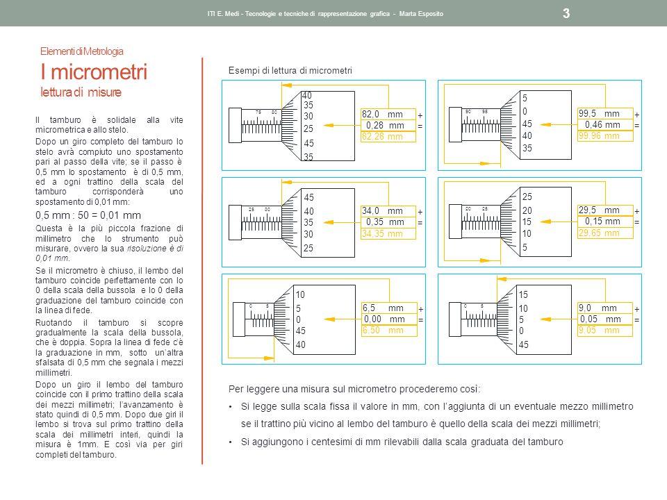 Elementi di Metrologia I micrometri lettura di misure ITI E. Medi - Tecnologie e tecniche di rappresentazione grafica - Marta Esposito 3 Il tamburo è