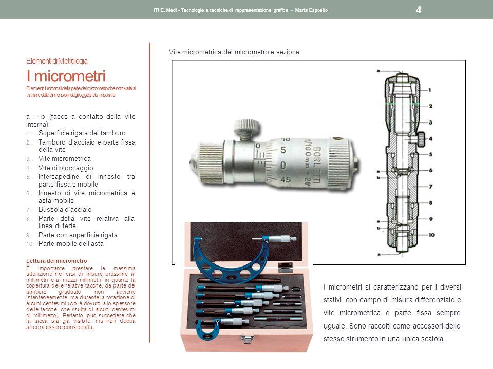 Elementi di Metrologia I micrometri Elementi funzionali della parte del micrometro che non varia al variare delle dimensioni degli oggetti da misurare