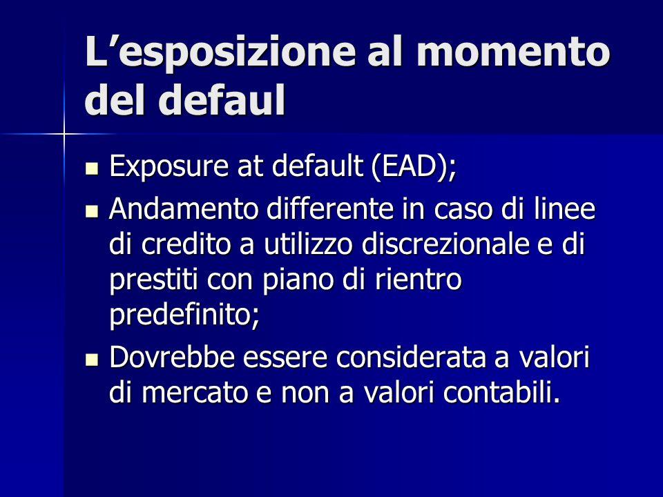 L'esposizione al momento del defaul Exposure at default (EAD); Exposure at default (EAD); Andamento differente in caso di linee di credito a utilizzo
