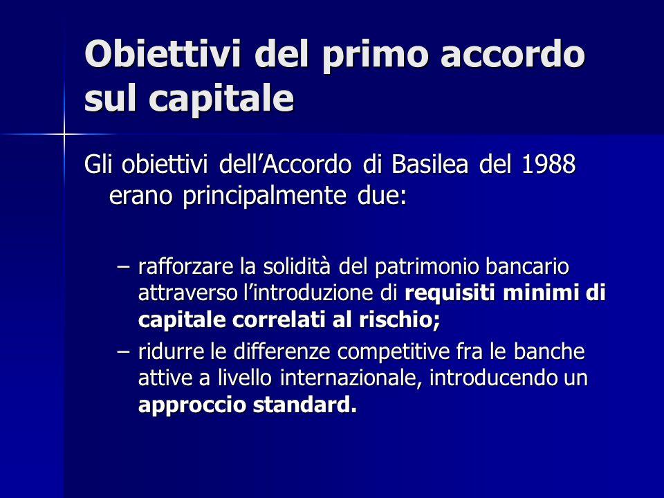Obiettivi del primo accordo sul capitale Gli obiettivi dell'Accordo di Basilea del 1988 erano principalmente due: –rafforzare la solidità del patrimon
