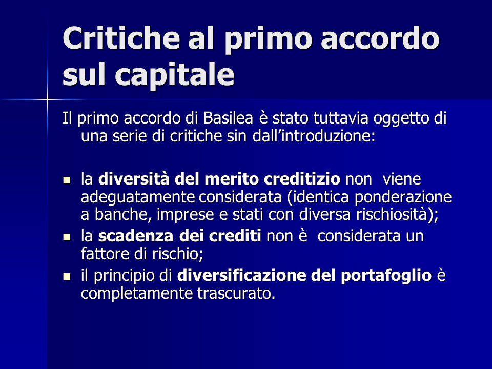 Critiche al primo accordo sul capitale Il primo accordo di Basilea è stato tuttavia oggetto di una serie di critiche sin dall'introduzione: la diversi