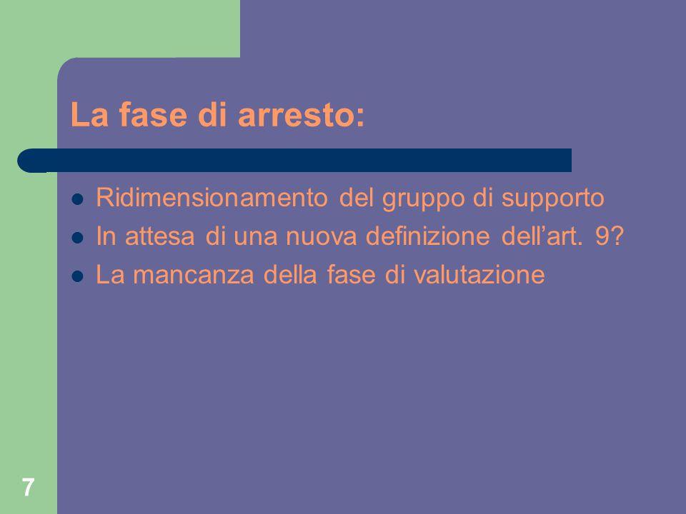 7 La fase di arresto: Ridimensionamento del gruppo di supporto In attesa di una nuova definizione dell'art.