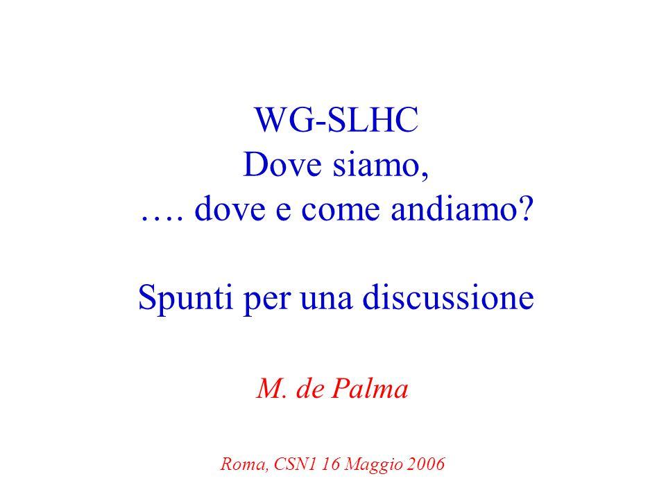 Roma, 16 Maggio 06M de Palma, WG SLHC2 Out line Breve sunto delle conclusioni del WG Novità e considerazioni del WG Possibili attività di R&d per il 2007 di ATLAS Possibili attività di R&d per il 2007 di CMS Conclusioni e ……