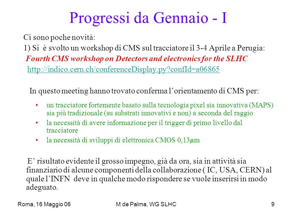 Roma, 16 Maggio 06M de Palma, WG SLHC10 Progressi da Gennaio - II 2 ) Su attività largamente riconducibili ad R&D per SLHC sono stati presentati, fra ATLAS E CMS, due Cofin06: –Sviluppo di rivelatori monolitici a pixel a basso costo per SuperLHC Rep.