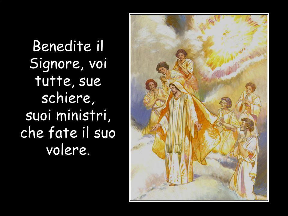 Benedite il Signore, voi tutti suoi Angeli, potenti esecutori dei suoi comandi, pronti alla voce della sua parola. Benedite il Signore, voi tutti suoi